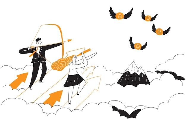 Um empresário está atirando uma flecha em algo que voa como um bitcoin. ilustração em vetor desenhada à mão