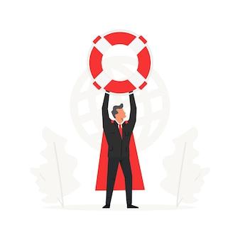 Um empresário segura uma grande bóia salva-vidas acima de sua cabeça companhias de seguros e assistência comercial