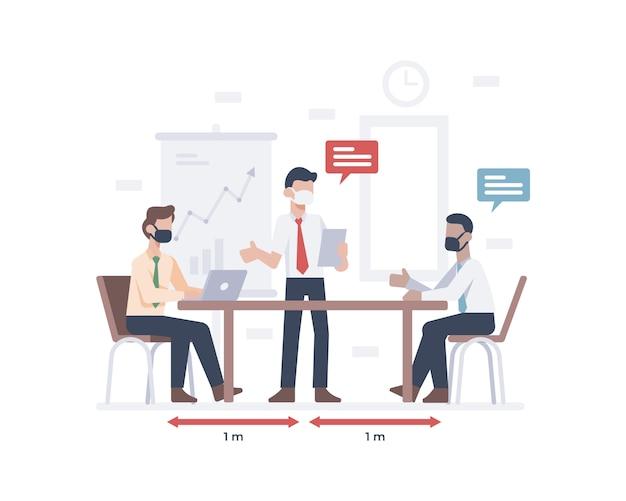 Um empresário usando uma máscara facial e se encontrando com um funcionário ou trabalhador e praticando a ilustração de distanciamento social
