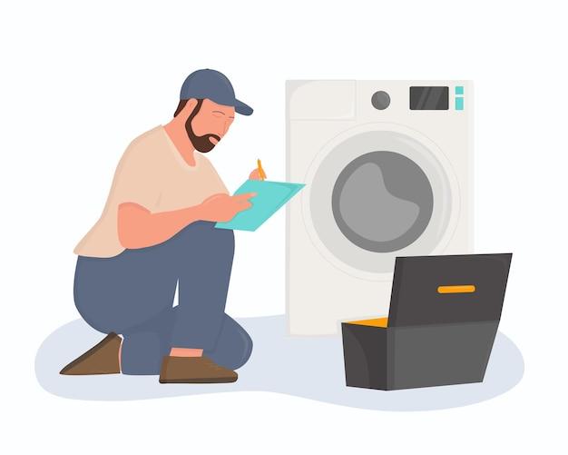 Um encanador está consertando uma máquina de lavar. ilustração plana