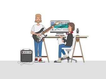 Um engenheiro de som ou um produtor musical colaborando