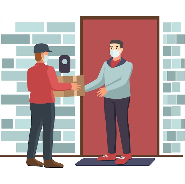 Um entregador entregando um pacote a um homem, mantendo sua distância segura