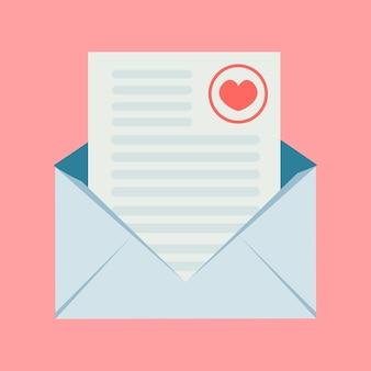 Um envelope com uma mensagem de amor romântica e um coração rosa no canto