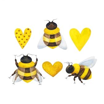 Um enxame de abelhas e um coração amarelo. conjunto de ilustrações em aquarela com insetos