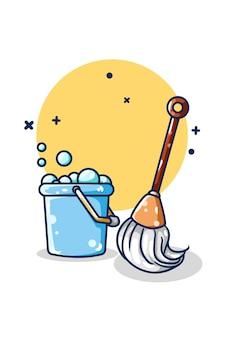 Um esfregão e um balde de espuma desenhado à mão