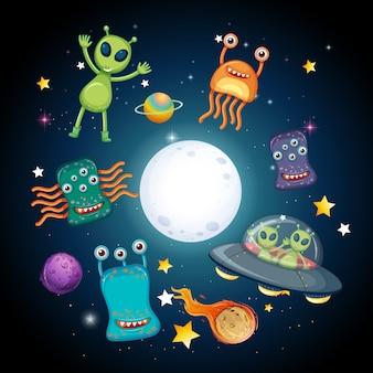 Um espaço e alienígenas