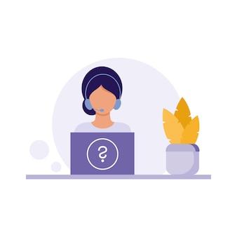 Um especialista de call center e gerente de suporte técnico senta-se em frente ao laptop com fones de ouvido e trabalha com e-mail. ilustração em vetor plana dos desenhos animados. a menina trabalha no computador sem sair de casa.