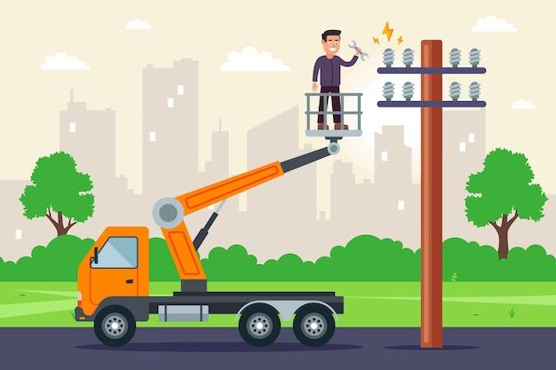 Um especialista faz reparos em cabos de alta tensão em um caminhão com elevador