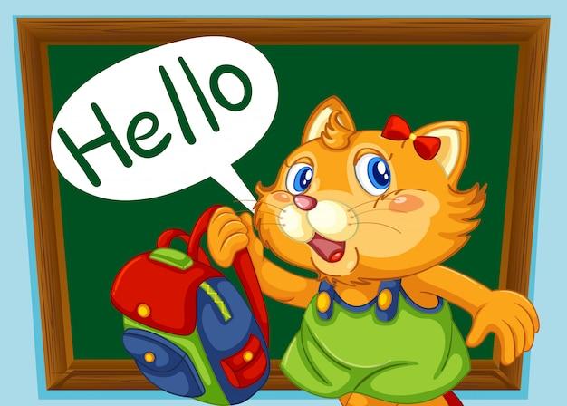 Um estudante de gato diz olá