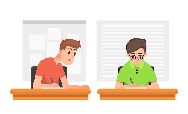 Um estudante do sexo masculino traindo um colega durante uma prova
