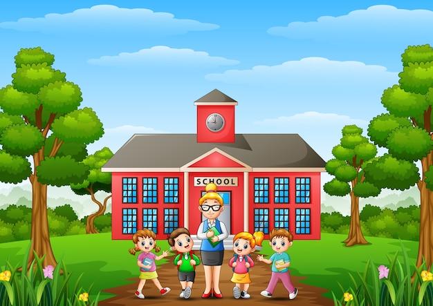 Um, estudantes, e, professor, frente, edifício escola