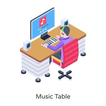 Um estúdio de produção de melodia de mesa de música de ilustração isométrica