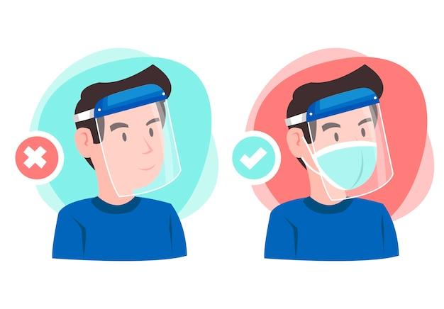 Um exemplo de uso de uma proteção facial. ilustração de menino usando protetor facial