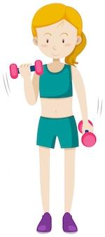 Um exercício de treinamento de peso menina