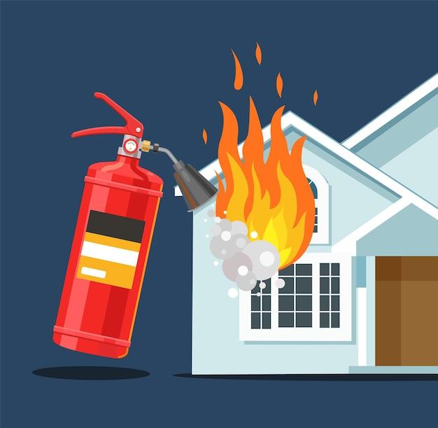 Um extintor de incêndio apaga a casa ilustração em vetor plana contra incêndio