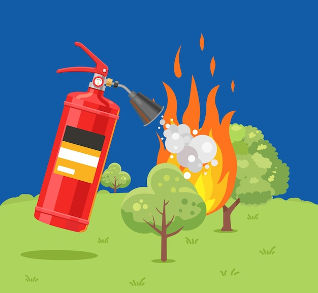 Um extintor de incêndio apaga um incêndio florestal ilustração em vetor plana contra incêndio
