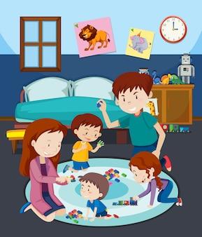 Um, família, brinquedo jogando, com, crianças