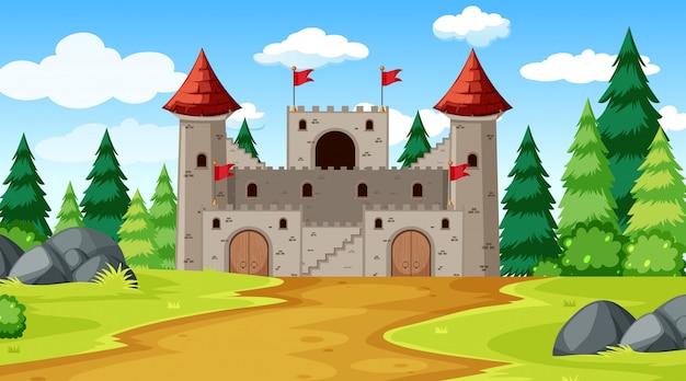 Um, fantasia, castelo, fundo