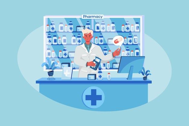 Um farmacêutico segurando uma caixa de remédios e uma cápsula em uma farmácia