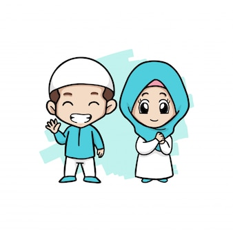 Um feliz casal muçulmano crianças