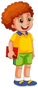 Um, feliz, menino estudante, personagem