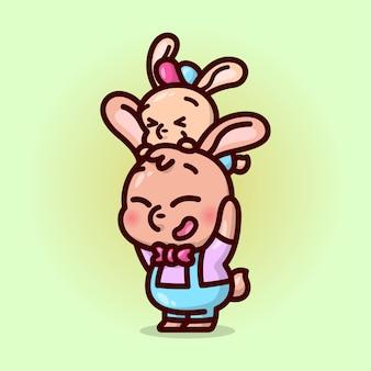 Um feliz pai e um filhote de coelho brincando juntos ilustração.
