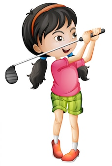 Um, femininas, golfer, personagem