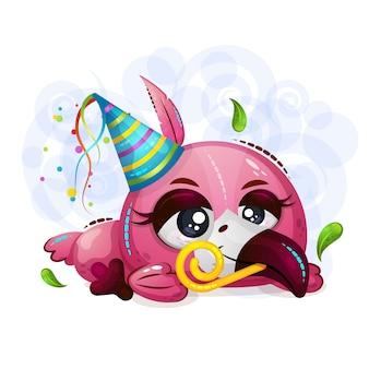 Um flamingo cansado bonito pequeno do pássaro