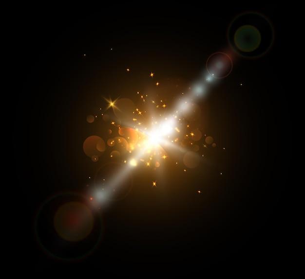Um flash brilhante de luz cintilando isolado