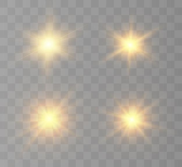 Um flash brilhante do sol com raios e brilho.