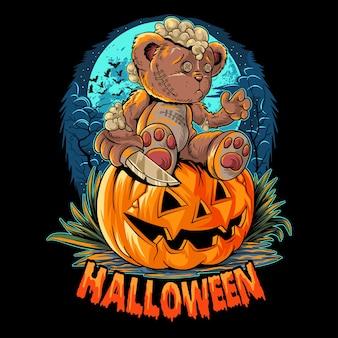 Um fofo ursinho de pelúcia de halloween com uma faca sentado em uma abóbora