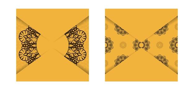 Um folheto amarelo com desenhos em marrom indiano preparado para tipografia.