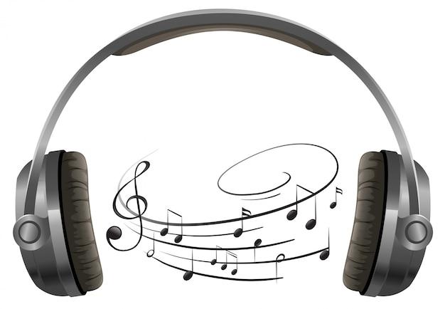 Um fone de ouvido no fundo branco
