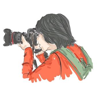 Um fotógrafo tira foto, desenho à mão livre, ilustração