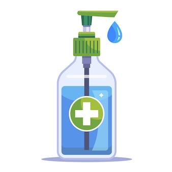Um frasco com um anti-séptico médico para desinfetar as mãos. ilustração plana isolada no fundo branco.