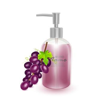 Um frasco de shampoo ou sabonete líquido com cheiro de uvas