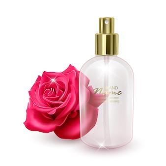 Um frasco vazio para perfumar um frasco no fundo de uma rosa vermelha