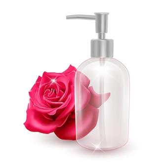 Um frasco vazio para xampu, loções ou sabonete líquido
