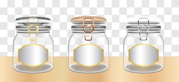Um frascos transparentes de vidro