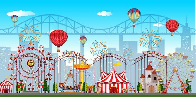 Um fundo de parque de diversões