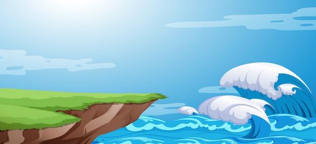 Um fundo do penhasco do oceano