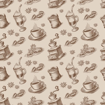 Um fundo retro sem costura para um tema de café em estilo de gravura. este design pode ser usado para embalagens ou como papel de parede para um restaurante ou cozinha