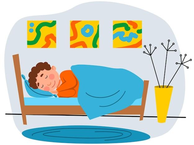 Um garotinho está dormindo em sua cama. uma criança de pijama. ilustração em vetor em um estilo simples.