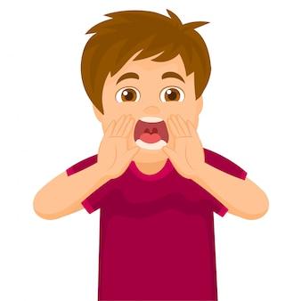 Um garotinho gritando