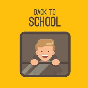 Um garotinho olhando pela janela de um ônibus escolar amarelo.