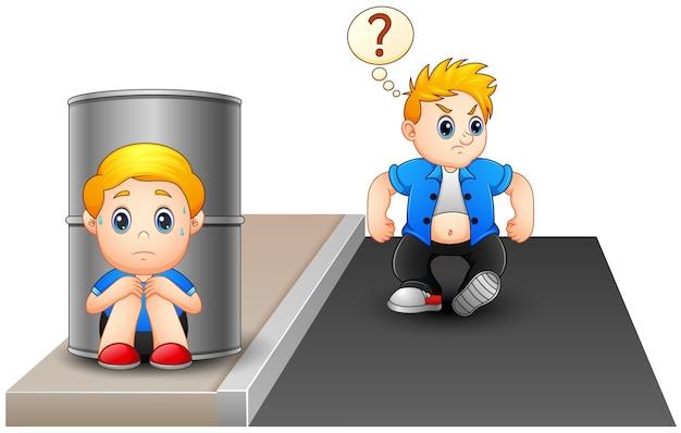 Um garoto assustado se escondendo atrás de um barril