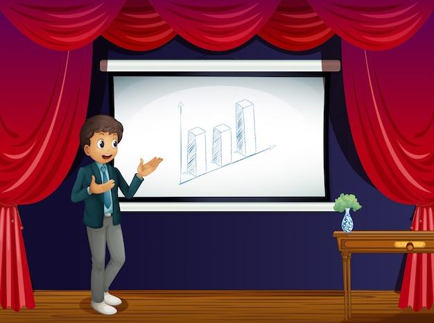 Um garoto com sua apresentação no palco