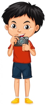 Um garoto feliz com câmera