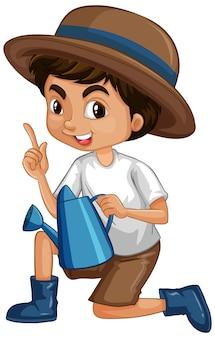 Um garoto feliz com regador