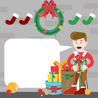 Um garoto segurando um presente de natal ao lado da pilha de presente com bolha de fala